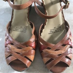 Naturalizer Leather Wedge Sandals